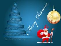 Cartolina di Natale con il Babbo Natale Immagini Stock Libere da Diritti
