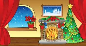 Cartolina di Natale con il camino 2 Fotografie Stock Libere da Diritti