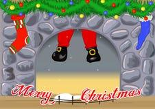 Cartolina di Natale con il camino Fotografia Stock Libera da Diritti
