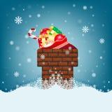 Cartolina di Natale con il camino e le grandi borse dei regali Immagine Stock