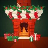 Cartolina di Natale con il camino ed i calzini Immagine Stock