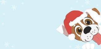 Cartolina di Natale con il cane del fumetto in cappello di Santa illustrazione vettoriale