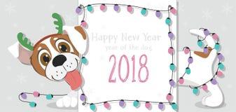 Cartolina di Natale con il cane del fumetto e le luci di Natale Fotografia Stock