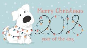 Cartolina di Natale con il cane del fumetto e le luci di Natale bianchi Immagine Stock Libera da Diritti
