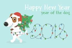 Cartolina di Natale con il cane del fumetto e le luci di Natale bianchi Fotografia Stock Libera da Diritti