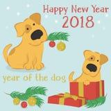 Cartolina di Natale con il cane del fumetto ed il contenitore di regalo Immagini Stock