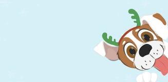 Cartolina di Natale con il cane del fumetto con i corni della renna Immagini Stock Libere da Diritti