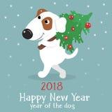 Cartolina di Natale con il cane sveglio del fumetto con l'albero di Natale Fotografia Stock
