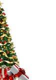 Cartolina di Natale con il contenitore di regalo e di pino Immagine Stock