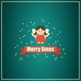 Cartolina di Natale con il fatato Immagine Stock