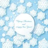 Cartolina di Natale con il fiocco di carta della neve illustrazione di stock