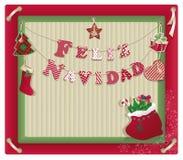 Cartolina di Natale con il navidad del feliz Immagini Stock Libere da Diritti
