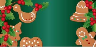 Cartolina di Natale con il pan di zenzero e l'agrifoglio di natale Fotografie Stock Libere da Diritti