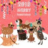 cartolina di Natale 2018 con il partito dei cani Immagini Stock Libere da Diritti
