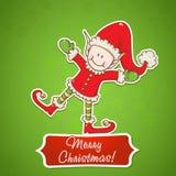 Cartolina di Natale con il piccolo assistente della Santa dell'elfo Fotografie Stock