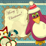 Cartolina di Natale con il pinguino Fotografie Stock