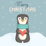 Cartolina di Natale con il pinguino sveglio Immagine Stock