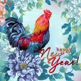 Cartolina di Natale con il pollo ed i fiori Immagine Stock