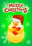 Cartolina di Natale con il pulcino, il cappello di Santa ed il cuore svegli Fotografie Stock Libere da Diritti