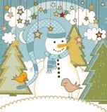 Cartolina di Natale con il pupazzo di neve Fotografia Stock Libera da Diritti