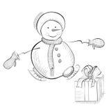 Cartolina di Natale con il pupazzo di neve Immagini Stock