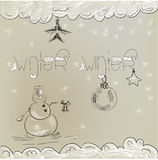 Cartolina di Natale con il pupazzo di neve Immagine Stock Libera da Diritti