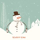 Cartolina di Natale con il pupazzo di neve. Fotografia Stock Libera da Diritti