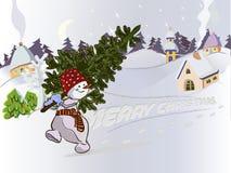 Cartolina di Natale con il pupazzo di neve Immagini Stock Libere da Diritti