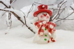 Cartolina di Natale con il pupazzo di neve Fotografia Stock
