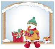 Cartolina di Natale con il pupazzo di neve ed i biscotti Fotografia Stock Libera da Diritti