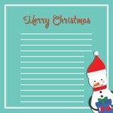 Cartolina di Natale con il pupazzo di neve felice Regalo sveglio Immagine Stock