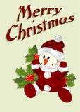 Cartolina di Natale con il pupazzo di neve in vestito dal Babbo Natale Fotografie Stock Libere da Diritti