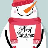 Cartolina di Natale con il pupazzo di neve royalty illustrazione gratis