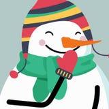 Cartolina di Natale con il pupazzo di neve sorridente illustrazione di stock