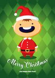 Cartolina di Natale con il ragazzo in costume di Santa Immagine Stock Libera da Diritti