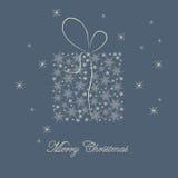 Cartolina di Natale con il regalo Immagine Stock Libera da Diritti
