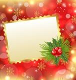 Cartolina di Natale con il vischio ed il pino Immagine Stock Libera da Diritti