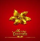 Cartolina di Natale con l'agrifoglio dell'oro su una priorità bassa rossa illustrazione di stock