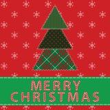 Cartolina di Natale con l'albero Fotografia Stock