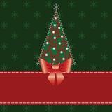 Cartolina di Natale con l'albero Fotografie Stock