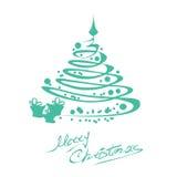 Cartolina di Natale con l'albero Fotografia Stock Libera da Diritti