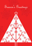 Cartolina di Natale con l'albero Immagine Stock