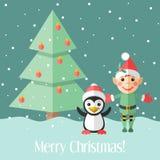 Cartolina di Natale con l'albero dell'elfo e del pinguino e di abete Fotografie Stock Libere da Diritti