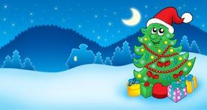 Cartolina di Natale con l'albero della Santa Fotografia Stock
