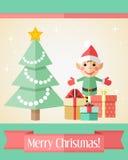 Cartolina di Natale con l'albero di abete e l'elfo Fotografie Stock Libere da Diritti