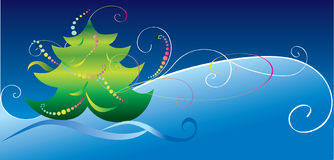 Cartolina di Natale con l'albero di Natale Fotografia Stock