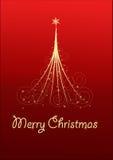 Cartolina di Natale con l'albero di Natale Fotografie Stock Libere da Diritti