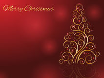 Cartolina di Natale con l'albero di Natale dorato stilizzato Illustrazione di vettore Immagini Stock Libere da Diritti