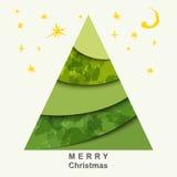 Cartolina di Natale con l'albero di Natale e le stelle Immagini Stock Libere da Diritti
