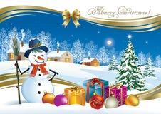 Cartolina di Natale con l'albero di Natale, il contenitore di regalo ed il pupazzo di neve Fotografia Stock Libera da Diritti